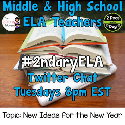 Join secondary English Language Arts teachers Tuesday evenings at 8 pm EST on Twitter. This week's chat will be about new ideas for the new year.