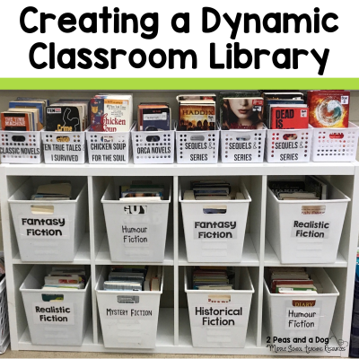 It can be a challenge to create a dynamic and useful middle school classroom library from scratch. Read to find out lots of great organization and book acquiring tips from 2 Peas and a Dog. #classroomlibrary #classroombooks #teaching #reading