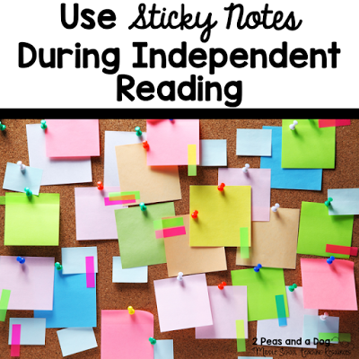Silent reading can be difficult if students are not engaged in the text or the activity they are ask to complete during or after reading. Sticky notes are an inexpensive way to bring engagement and energy back into silent reading time from the 2 Peas and Dog blog.
