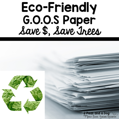 Save paper and money in your classroom by having students use G.O.O.S paper when completing non-assessment tasks from the 2 Peas and a Dog blog.