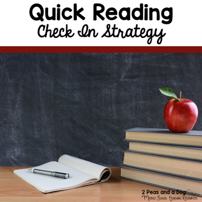 Try this quick reading check in strategy to keep students accountable for their independent reading. It is also important for teachers to demonstrate an interest in their student's reading choices, but it must be done quickly in a large class. This check in strategy will help develop a culture of reading in your classroom from the 2 Peas and a Dog blog.