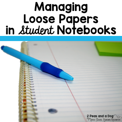 A quick solution to helping students manage paper handouts in their notebooks from the 2 Peas and a Dog blog.