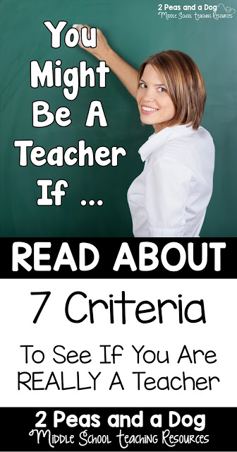 """A teacher humour blog post focusing on a list of """"success criteria"""" for teachers to reference if they need to make sure they are a teacher from the 2 Peas and a Dog blog."""