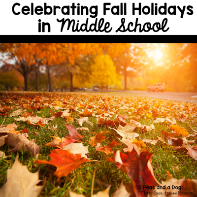 Ideas for celebrating Halloween, Remembrance Day and Thanksgiving in the middle school classroom.