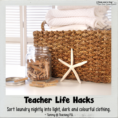 Teacher Life Hack - Teachers sort your laundry nightly to avoid a giant time consuming laundry pile on the weekend.