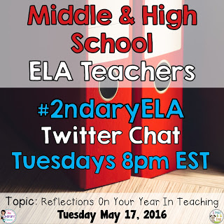 On Tuesday, May 17, our #2ndaryELA chat will focus on reflecting on your year in teaching in the ELA classroom.