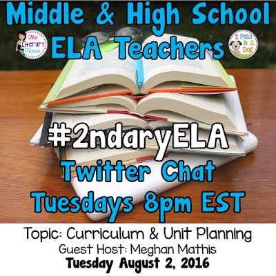 Join secondary English Language Arts teachers Tuesday evenings at 8 pm EST on Twitter. This week's chat will focus on curriculum & unit planning.