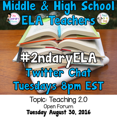 Join secondary English Language Arts teachers Tuesday evenings at 8 pm EST on Twitter. This week's chat will be an open forum so bring any questions you have about teaching.