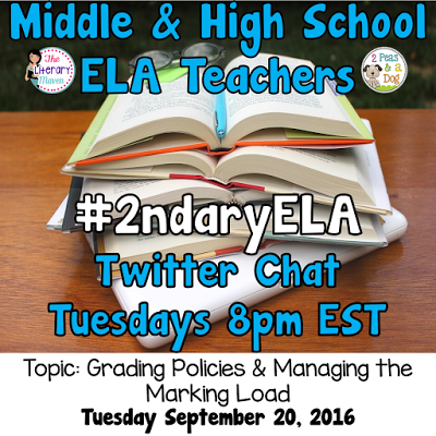 Join secondary English Language Arts teachers Tuesday evenings at 8 pm EST on Twitter. This week's chat will be about grading policies & managing the marking load.