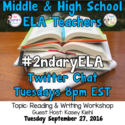 Join secondary English Language Arts teachers Tuesday evenings at 8 pm EST on Twitter. This week's chat will be about using a reading and writing workshop.