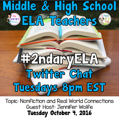 Join secondary English Language Arts teachers Tuesday evenings at 8 pm EST on Twitter. This week's chat will be about nonfiction and real world connections.