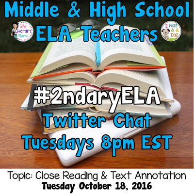 Join secondary English Language Arts teachers Tuesday evenings at 8 pm EST on Twitter. This week's chat will be about close reading & text annotation.