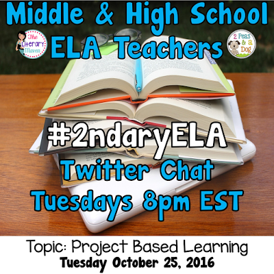 Join secondary English Language Arts teachers Tuesday evenings at 8 pm EST on Twitter. This week's chat will be about project based learning.