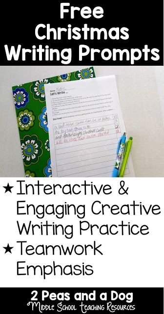 Try these free engaging Christmas writing prompts from 2 Peas and a Dog.