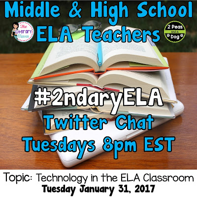 Join secondary English Language Arts teachers Tuesday evenings at 8 pm EST on Twitter. This week's chat will be about technology in the ELA classroom.