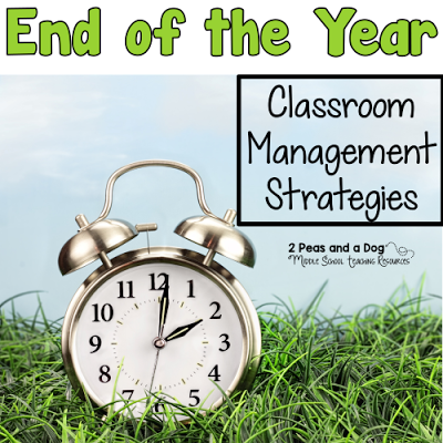 The end of the year is a stressful time. Ten teacher bloggers have taken the time to share their thoughts on how to make classroom management more manageable during the year end chaos from the 2 Peas and a Dog blog.