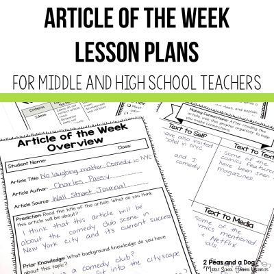 article of the week lesson ideas for middle and high school