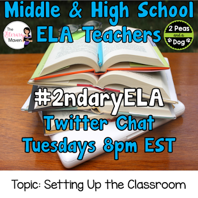Join secondary English Language Arts teachers Tuesday evenings at 8 pm EST on Twitter. This week's chat will be about setting up the English Language Arts classroom.