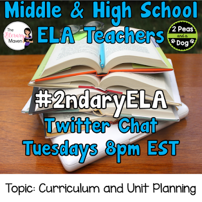 Join secondary English Language Arts teachers Tuesday evenings at 8 pm EST on Twitter. This week's chat will be about curriculum, unit and lesson planning.