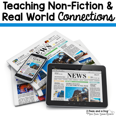 Using non-fiction in the classroom is a great tool to increase engagement and expose students to a wide variety of current issues and events that extend beyond the traditional fiction taught in most English classes. This week's Twitter chat was focused on using non-fiction texts to help students make real world connections. Teachers shared their best ideas for making this a regular process in the English Language Arts classroom from the 2 Peas and a Dog blog.