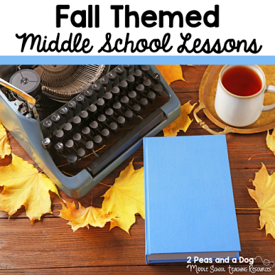 Fall lesson ideas for the middle school classroom including Halloween, Thanksgiving, Remembrance Day and Service Projects from the 2 Peas and a Dog blog.