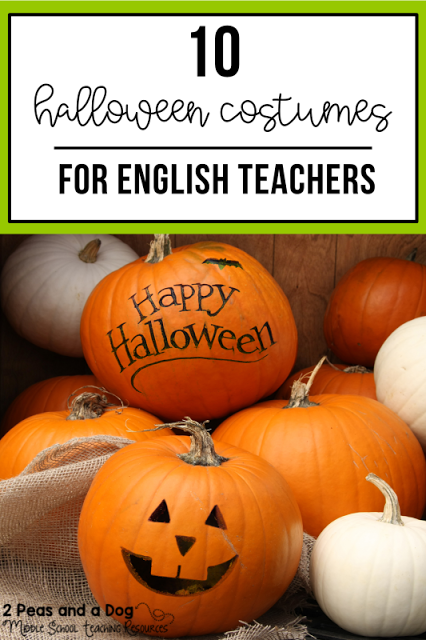 Finding a creative, yet school-suitable Halloween costume can be challenging. Find 10 creative Halloween costume ideas for English teachers in this blog post from 2 Peas and a Dog. #halloween #teachers #teacherhalloweencostumes