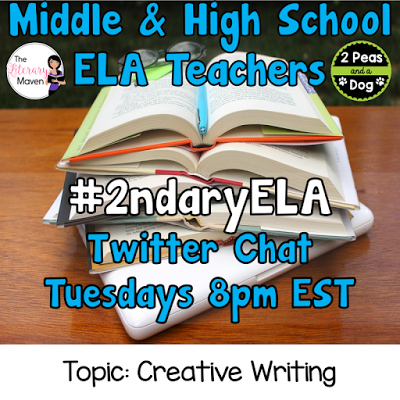 Join secondary English Language Arts teachers Tuesday evenings at 8 pm EST on Twitter. This week's chat will be about creative writing.