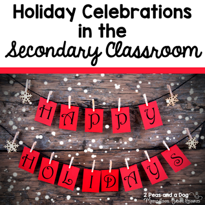 Middle and High School English Language Arts Teachers - enjoy the holidays by helping students think about others instead of themselves. Learn about fantastic ideas from other ELA teachers on how they celebrate the holiday season with their students while keeping a focus on the meaning of the season - giving not getting from the 2 Peas and a Dog blog.