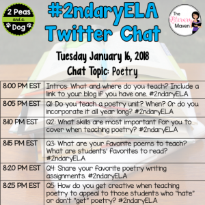 #2ndaryELA Twitter Chat on Tuesday 1/16 Topic: Poetry