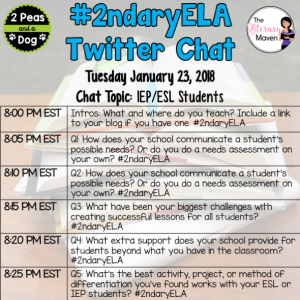 #2ndaryELA Twitter Chat on Tuesday 1/22 Topic: Supporting IEP & ESL Students