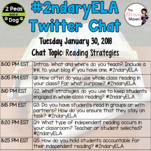 #2ndaryELA Twitter Chat on Tuesday 1/30 Topic: Reading Strategies