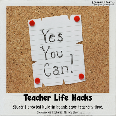 Busy teachers try this teacher life hack and save time by delegating some tasks to your students. Let students create your bulletin boards from the 2 Peas and a Dog blog.