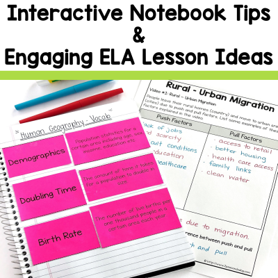 Find great tips, tools and resources for middle and high school interactive notebook ideas for the language arts classroom in this article from 2 Peas and a Dog. #languagearts #reading #writing #lessonplans #2peasandadog