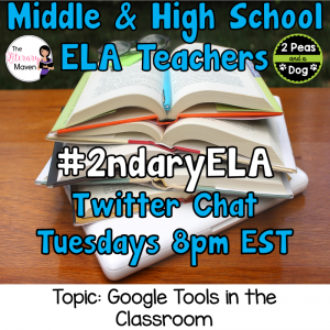 Join secondary English Language Arts teachers Tuesday evenings at 8 pm EST on Twitter. This week's chat will be about using Google tools in the classroom.
