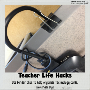 No time for messy technology cords? Busy teachers try this teacher life hack about using binder clips to sort out technology cords from the 2 Peas and a Dog blog.