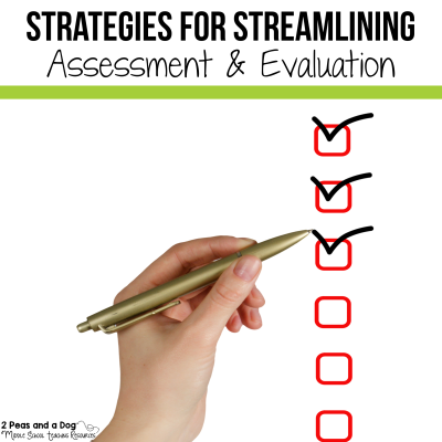Teachers we work way too much on assessment and evaluation. Read these key tips for streamlining your marking load from 2 Peas and a Dog. #marking #grading #newteacher #classroommanagement