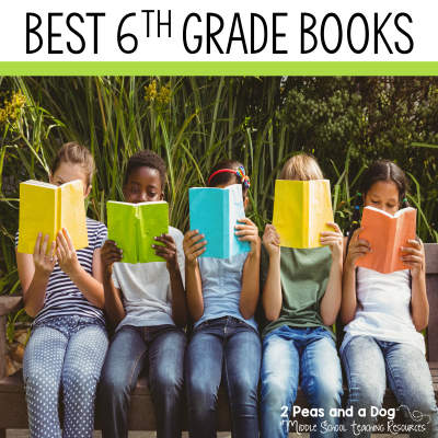Best books for 6th grade students, classrooms and libraries. These are excellent 6th grade novels to add to your classroom library or book club collections from 2 Peas and a Dog. #YAlit #reading #middleschool #6thgrade