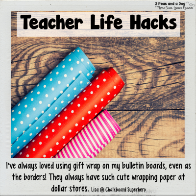 Save time and money with this classroom bulletin board teacher life hack from 2 Peas and a Dog. #newteachers #teacherlifehack #lifehack #classroomsetup #classroomorganization
