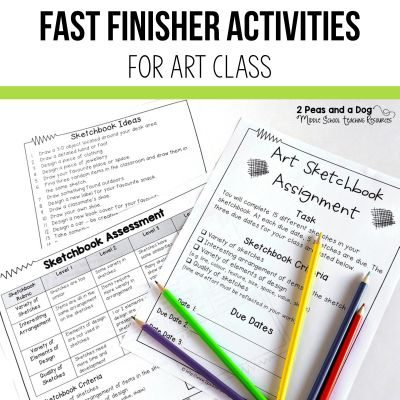 Keep students busy and engaged when they are finished their art assignments. Get practical ideas for fast finishers in art class from 2 Peas and a Dog. #artclass #art #fastfinishers #artroom #lessonplans