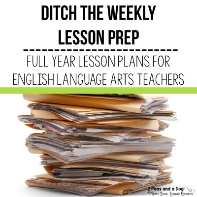 Full year lesson plans provide huge time savings to busy teachers. It is important to have lesson structures and assignments in your classroom that students are familiar with and that can be used all year. No one has time to prep brand new lessons every night OR write detailed sub plans when they are home with the flu.  #lessonplans #englishlanguagearts #englishlessons #lessonprep