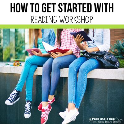 Read about how to get started with reader's workshop by shifting our traditional mindset where everyone is reading the same thing at the same time from 2 Peas and a Dog. #readingworkshop #middleschool #lessonplans