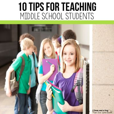 Teaching middle school students can be challenging unless you develop the right mindset. Check out these ten tips for teaching middle school students from 2 Peas and a Dog. #middleschool #newteachers #classroommanagement