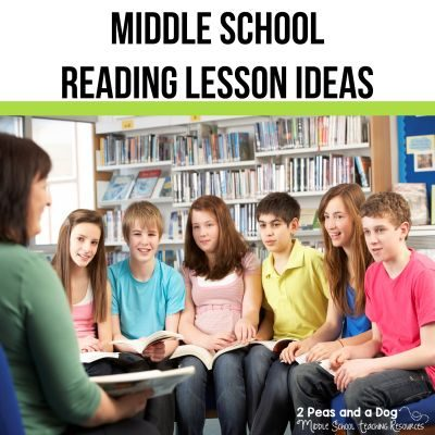 Find engaging middle school reading lessons including classroom library set up, tips for increasing student engagement and comprehension, as well as recommended reading lists from 2 Peas and a Dog. #middleschool #lessonplans #reading
