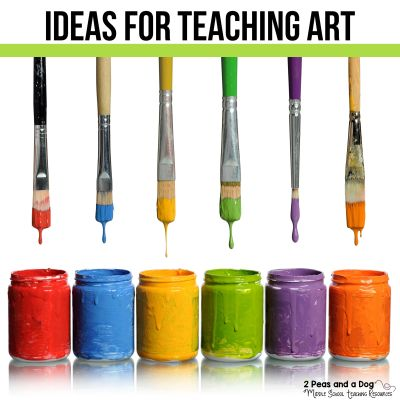 Find great ideas for teaching art as well as art lesson ideas, art teaching resources, art work and supplies storage and assignments from 2 Peas and a Dog. #artlessons #lessonplans #artteacher
