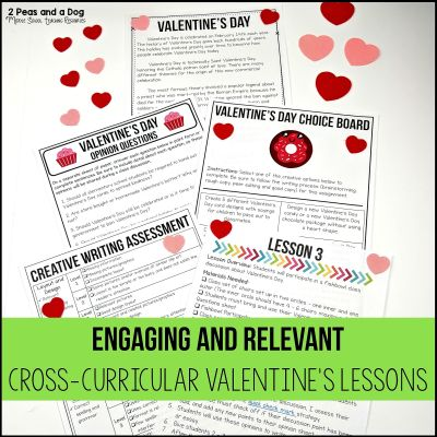 Valentine's Day is not just for elementary students - middle school students can celebrate this fun holiday. Read about 5 different Valentine's Day lesson plans for middle school students that are engaging, curriculum focused and rigorous from 2 Peas and a Dog. #middleschool #lessonplans #valentinesday #englishlanguagearts