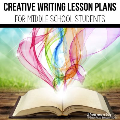 Creative writing is an important writing style for students to learn about and experience on their journey to becoming writers. Find engaging creative writing lesson plans for middle school students from 2 Peas and a Dog. #creativewriting #writing #lessonplans #middleschool