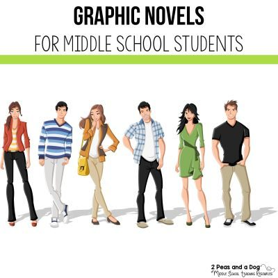 Students love graphic novels. Check out this list of must have graphic novels for your school or classroom library from 2 Peas and a Dog. #reading #middleschool #graphicnovels