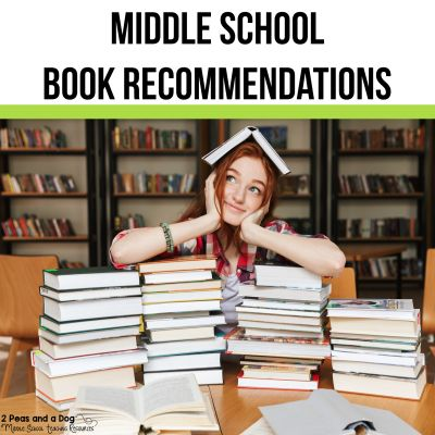 Middle school book recommendations are important so that teachers can find excellent books to share with their students. The middle school book lists are sorted by sub-topic so you can find exactly what you and your students need. YA (Young Adult) fiction is a great way to get your students to read from the 2 Peas and a Dog blog. #yafiction #middleschoolbooks #booklists #bookrecommendations