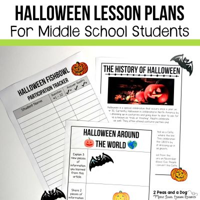 Try these 5 engaging Halloween lessons for middle school students that will help reinforce your students' reading and writing skills from 2 Peas and a Dog. #halloween #halloweenlessons #middleschoolela #middleschool