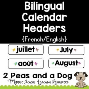 Bilingual Calendar Headers
